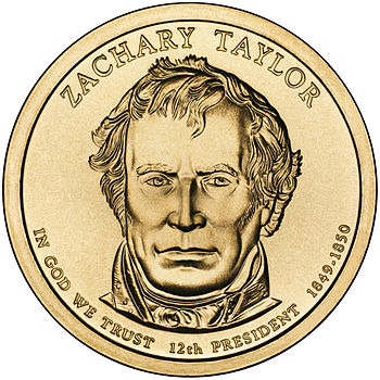 Presidential $1 Coin Program coin for Zachary Taylor. Obverse.
