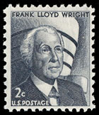 A 1966 U.S. postage stamp honoring Frank Lloyd Wright