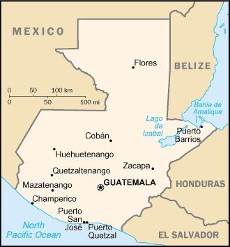 A map of the Republic of Guatemala