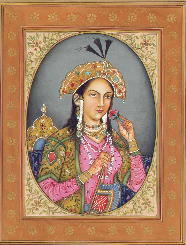 Mughal painting depicting Mumtaz Mahal.