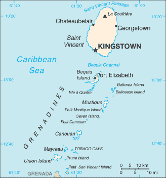 Saint Vincent lies to the north of the Grenadines island chain.